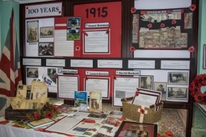 Library display of WW1 memorabilia