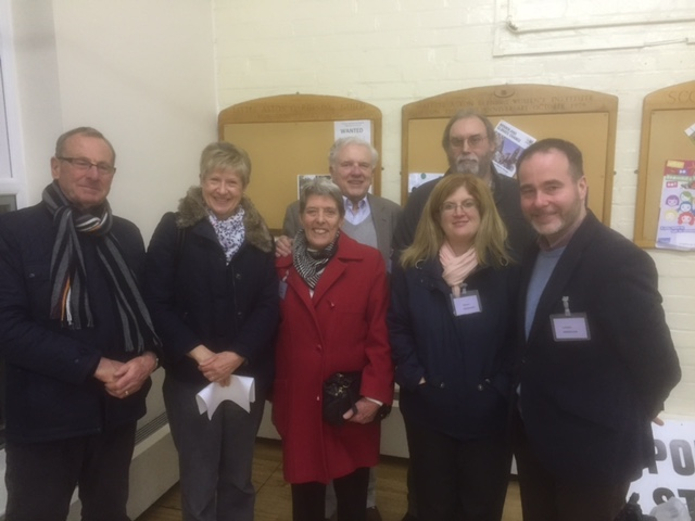Image of R to L Chris Pincher MP.Stonnall District Councillor Liz Hassall, Shenstone Parish Councillors Val Neal,Sheila Beilby and Malcolm Beilby.back row (R) Parish Councillor Mick Cox and Staffordshire County Councillor David Smith.